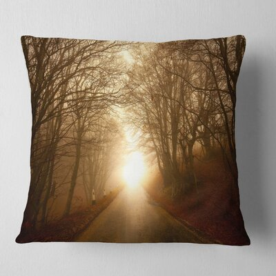 Path to Sunlight in Autumn Forest Landscape Photography Pillow Size: 16 x 16, Product Type: Throw Pillow