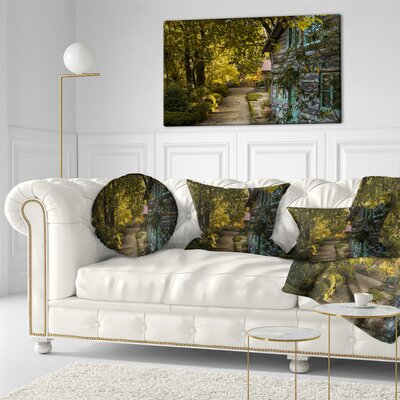 Pathway in the Garden Landscape Printed Throw Pillow Size: 16 x 16