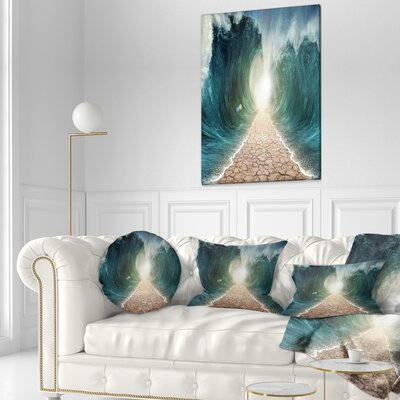 Pathway through the Parted Seas Seashore Throw Pillow Size: 16 x 16