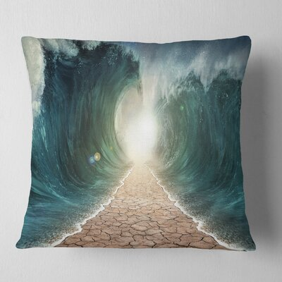 Pathway through the Parted Seas Seashore Pillow Size: 16 x 16, Product Type: Throw Pillow