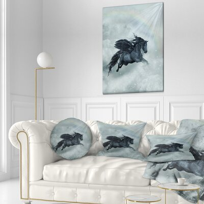 Pegasus in the Heaven Animal Painting Throw Pillow Size: 20 x 20