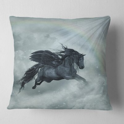 Pegasus in the Heaven Animal Painting Pillow Size: 16 x 16, Product Type: Throw Pillow