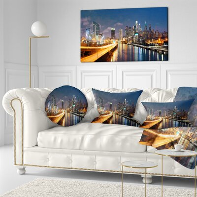 Philadelphia Skyline at Night Cityscape Throw Pillow Size: 16 x 16