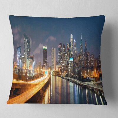 Philadelphia Skyline at Night Cityscape Pillow Size: 26 x 26, Product Type: Euro Pillow