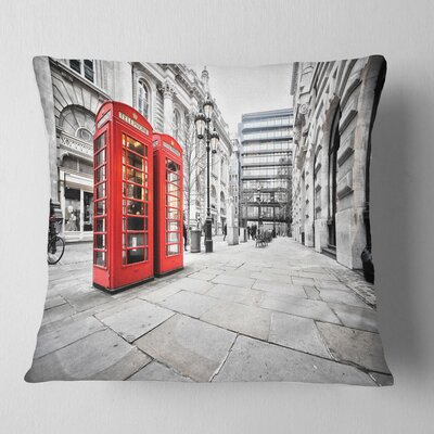 Phone Booths on Street Cityscape Pillow Size: 16 x 16, Product Type: Throw Pillow