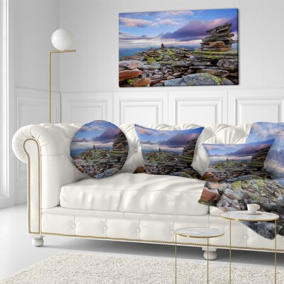 Piled Stones in Summer Mountains Landscape Photography Throw Pillow Size: 20 x 20