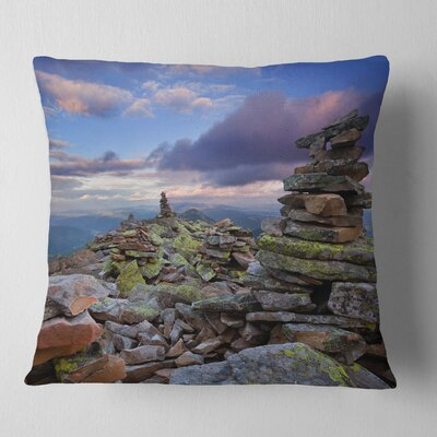 Piled Stones in Summer Mountains Landscape Photography Pillow Size: 16 x 16, Product Type: Throw Pillow