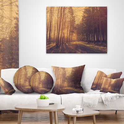 Pine Tree Forest by Road Landscape Photo Pillow Size: 18 x 18, Product Type: Throw Pillow