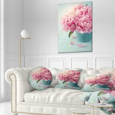 Peony Flowers in Vase Floral Throw Pillow Size: 16 x 16