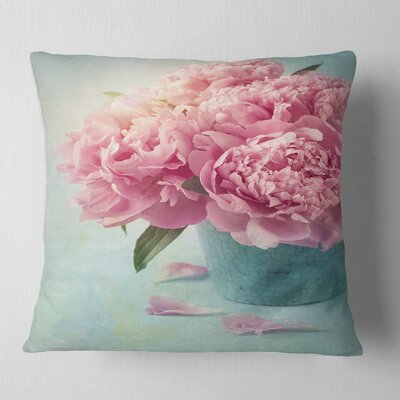 Peony Flowers in Vase Floral Pillow Size: 18 x 18, Product Type: Throw Pillow