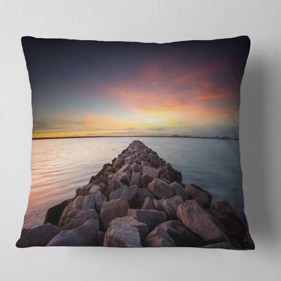 Long Stone Bridge into Beautiful Sea Seashore Pillow Size: 18 x 18, Product Type: Throw Pillow