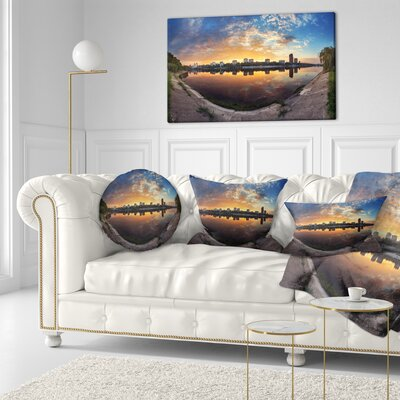 Long Summer Sunset in Landscape Photography Throw Pillow Size: 20 x 20