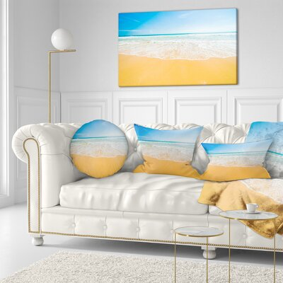 Long Waves on Sand Under Sky Seascape Throw Pillow Size: 20 x 20