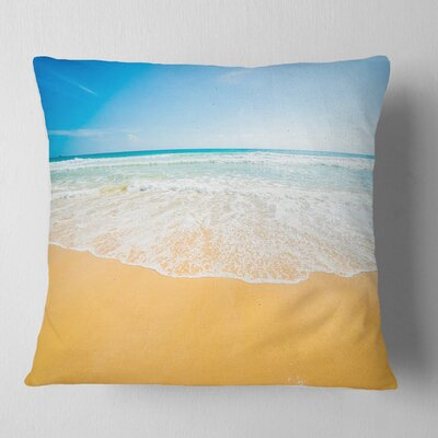 Long Waves on Sand Under Sky Seascape Pillow Size: 16 x 16, Product Type: Throw Pillow