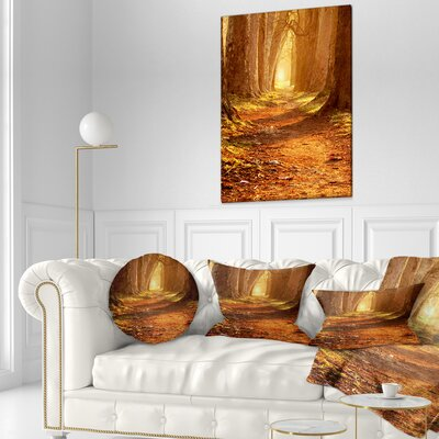 Magic Morning at the Fall Park Landscape Photography Throw Pillow Size: 20 x 20