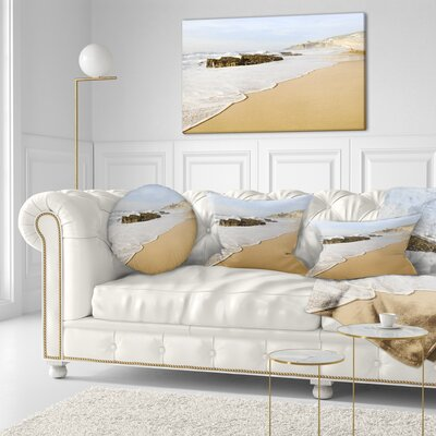 Magoito Beach Portugal Seascape Throw Pillow Size: 16 x 16