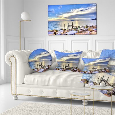 Makeshift Wooden Pier into the Sea Seashore Throw Pillow Size: 20 x 20