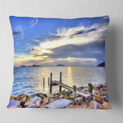 Makeshift Wooden Pier into the Sea Seashore Pillow Size: 18 x 18, Product Type: Throw Pillow