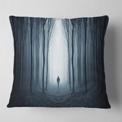 Man Walking Along in Misty Forest Landscape Photography Pillow Size: 26 x 26, Product Type: Euro Pillow