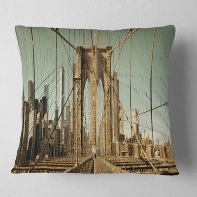 Manhattan Bridge in New York Brown Cityscape Pillow Size: 18 x 18, Product Type: Throw Pillow