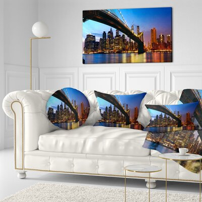 Manhattan City with Bridge Under Sky Cityscape Throw Pillow Size: 20 x 20