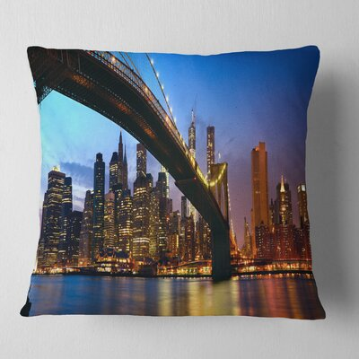 Manhattan City with Bridge Under Blue Sky Cityscape Pillow Size: 18 x 18, Product Type: Throw Pillow