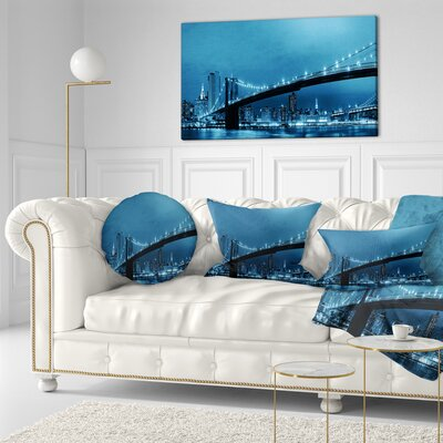 Manhattan Downtown Urban View Cityscape Throw Pillow Size: 20 x 20