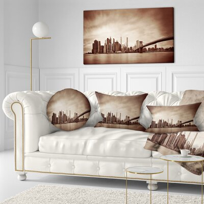 Manhattan Financial District Cityscape Throw Pillow Size: 16 x 16