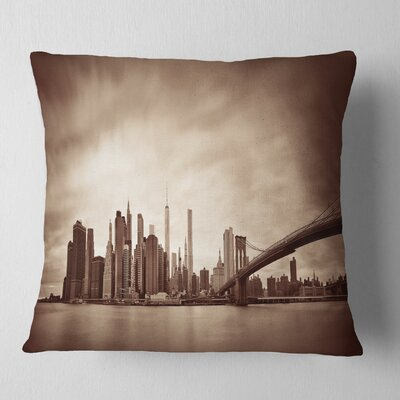 Manhattan Financial District Cityscape Pillow Size: 18 x 18, Product Type: Throw Pillow