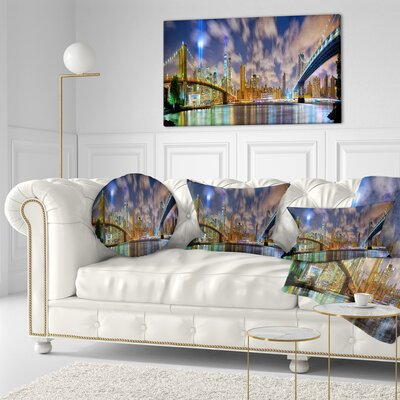Manhattan in Memory of September 11 Cityscape Throw Pillow Size: 20 x 20