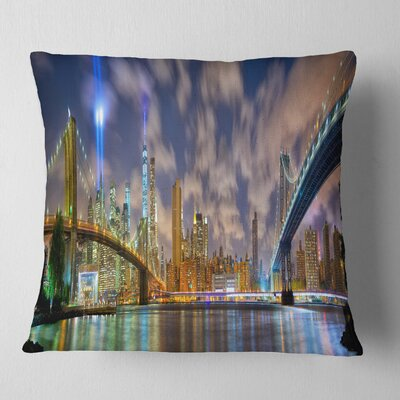 Manhattan in Memory of September 11 Cityscape Pillow Size: 16 x 16, Product Type: Throw Pillow