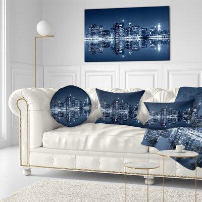 Manhattan Night Reflection Cityscape Throw Pillow Size: 16 x 16