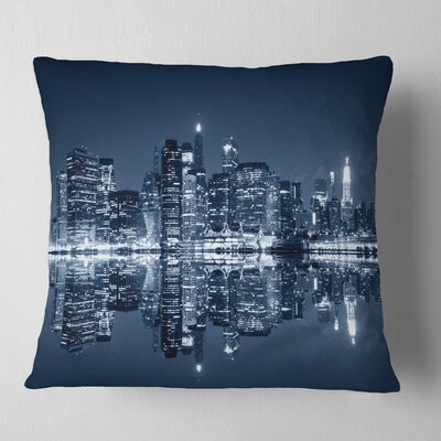Manhattan Night Reflection Cityscape Pillow Size: 18 x 18, Product Type: Throw Pillow