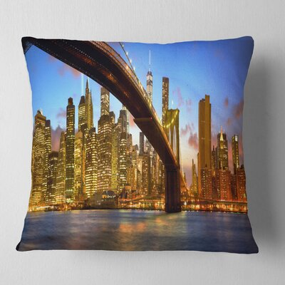 Manhattan Panorama with Skyscrapers Cityscape Pillow Size: 26 x 26, Product Type: Euro Pillow