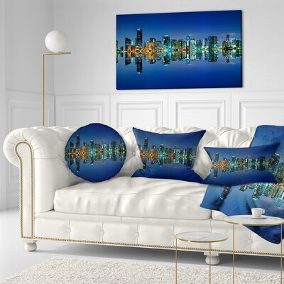 Miami Skyline at Night with Reflection Cityscape Throw Pillow Size: 20