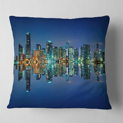 Miami Skyline at Night with Reflection Cityscape Pillow Size: 18