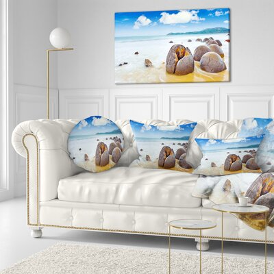 Midday Moeraki Boulders Seashore Photo Throw Pillow Size: 16