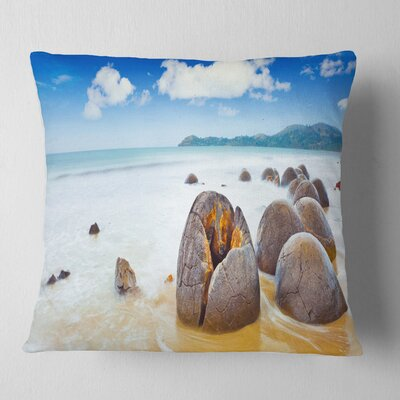 Midday Moeraki Boulders Seashore Photo Pillow Size: 18