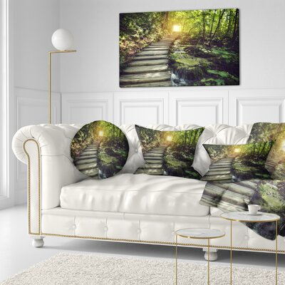 Misty Journey Ahead Landscape Photography Throw Pillow Size: 16 x 16