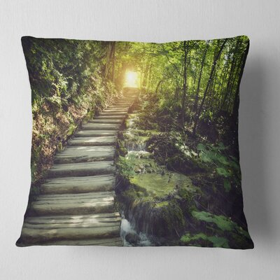 Misty Journey Ahead Landscape Photography Pillow Size: 26 x 26, Product Type: Euro Pillow