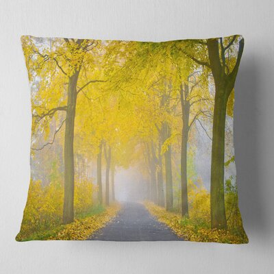 Misty Road in Autumn Forest Landscape Photography Pillow Size: 18 x 18, Product Type: Throw Pillow