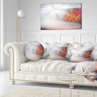 Misty Sun in Autumn Forest Landscape Photography Throw Pillow Size: 20 x 20