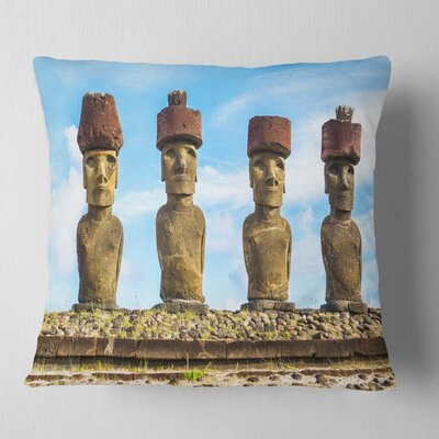 Moai with Topknot Hat Portrait Photo Pillow Size: 26 x 26, Product Type: Euro Pillow