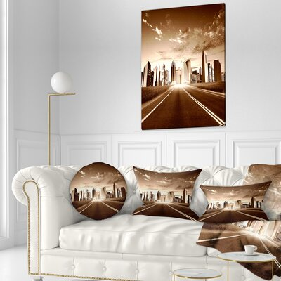 Modern City and Road Cityscape Throw Pillow Size: 16 x 16