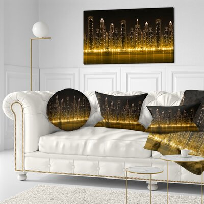 Modern City with Illuminated Skyscrapers Cityscape Throw Pillow Size: 20 x 20