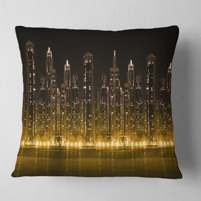 Modern City with Illuminated Skyscrapers Cityscape Pillow Size: 16 x 16, Product Type: Throw Pillow