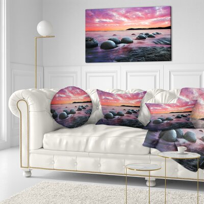 Moeraki Boulders at Sunset Seashore Photo Throw Pillow Size: 16 x 16