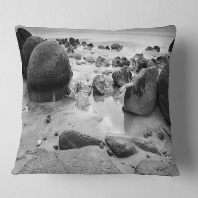 Moeraki Boulders Seashore Photo Pillow Size: 16 x 16, Product Type: Throw Pillow