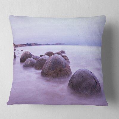 Moeraki Boulders New Zealand Seashore Photo Pillow Size: 26 x 26, Product Type: Euro Pillow