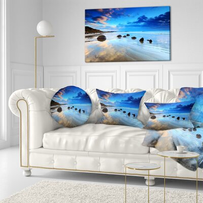 Moeraki Boulders Under Cloudy Sky Seashore Photo Pillow Size: 12 x 20, Product Type: Lumbar Pillow